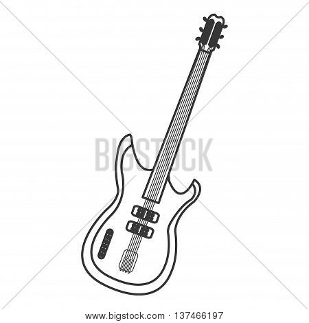 flat design electric guitar icon vector illustration
