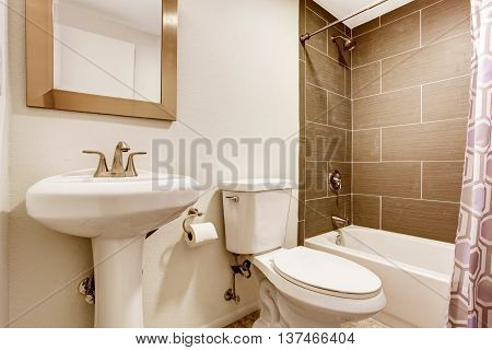 Modern Kitchen Room With Tile Wall Shower, Toilet And Washbasin Stand.