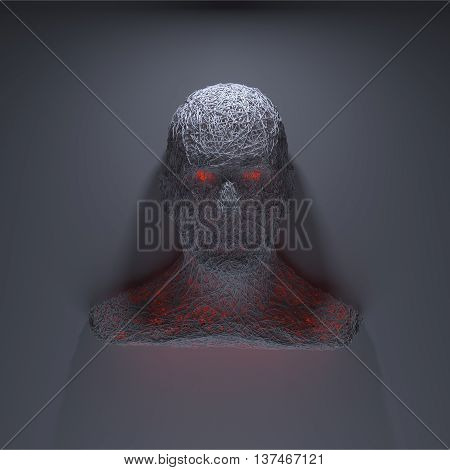 3d rendering evil head on black background with demonic eyes. Scary head glaring at you. Isolated on a black background. Portrait of blood thirsty head man with glowing eye. Closeup.