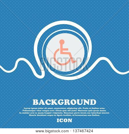 Disabled Sign Icon. Human On Wheelchair Symbol. Handicapped Invalid Sign. Blue And White Abstract Ba