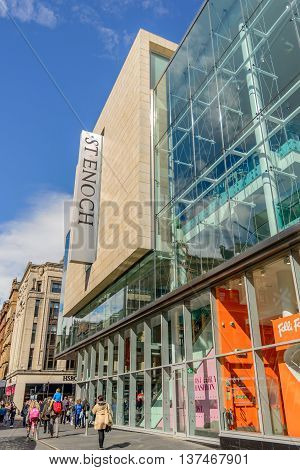 GLASGOW SCOTLAND - JULY 05 2016: St Enoch shopping centre at southern end of Buchanan Street in Glasgow.