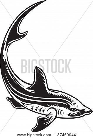 Symbol of big fish, black and white colors