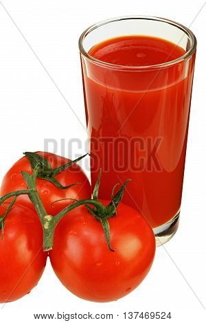 Glass of tomato juice and three ripe tomatoes isolated on white background with clipping path