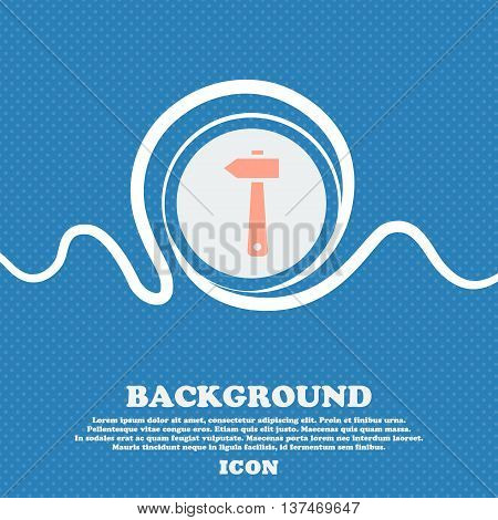 Hammer Icon Sign. Blue And White Abstract Background Flecked With Space For Text And Your Design. Ve