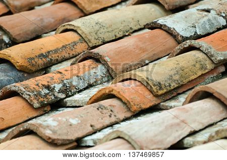 Close up from an old and weathered  roof