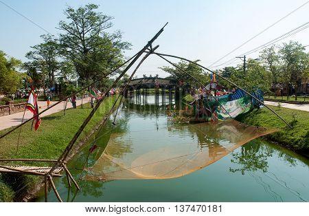 Hue, Vietnam, May 12, 2016 fishing nets, the Tam Giang Lagoon, Hue, Vietnam