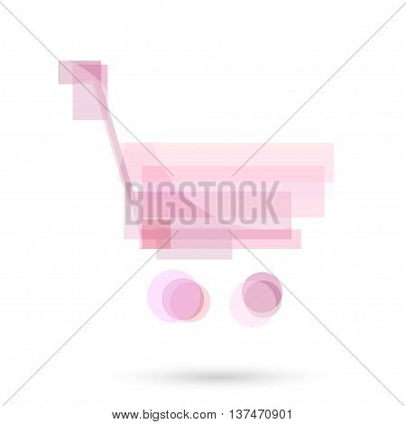 Shopping trolley Modern Soft Pink Color Icon for web app. New female or kids concept light design symbol. Logo technology sign isolated on white. Vector illustration in creative style.