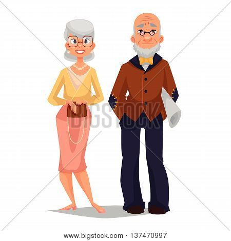 elderly couple man and woman, comic cartoon illustration isolated on white background, beautiful thin and well-groomed old man and an old woman, a happy elderly couple grandparents