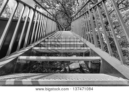 New metal stairway in black and white