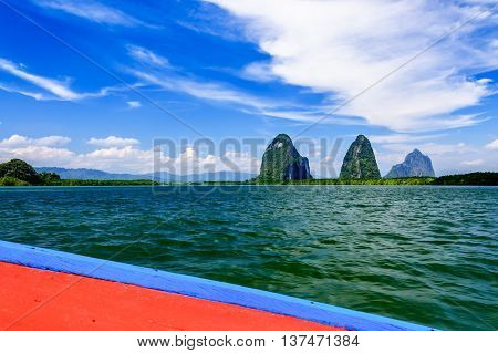 View of limestone karsts from long-tail boat in Phang Nga Bay, southern Thailand