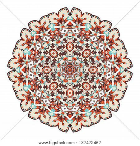 Mandala. Ethnicity Floral Round Ornament. Circular Ornament In Ethnic Style. Floral Elements For Inv