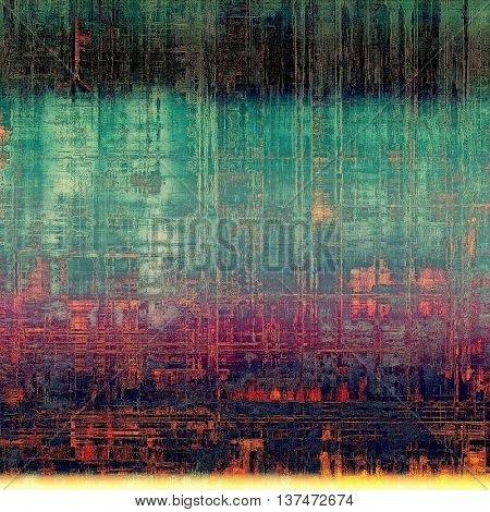 Vintage torn texture or stylish grunge background with ancient design elements and different color patterns: green; blue; red (orange); black; purple (violet); cyan