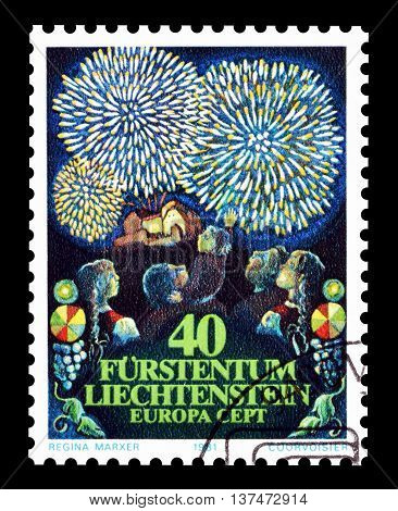 LIECHTENSTEIN - CIRCA 1981 : Cancelled postage stamp printed by Liechtenstein, that shows folklore.