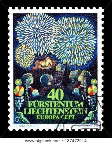 LIECHTENSTEIN - CIRCA 1981 : Cancelled postage stamp printed by Liechtenstein, that shows folklore.