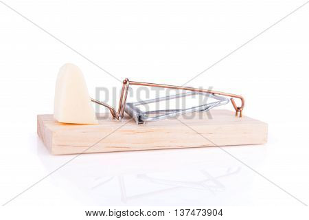 Wooden Mousetrap With A Cheese