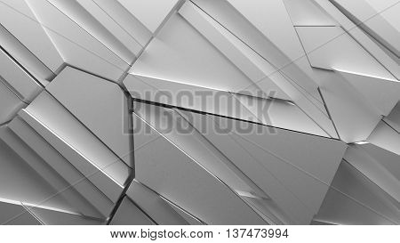 abstract 3d rendering fractured geometry background made of sliced pieces and randomly shapes sharp forms with light bounce and shadows