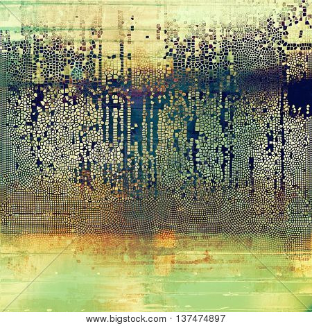 Vintage torn texture or stylish grunge background with ancient design elements and different color patterns: yellow (beige); brown; green; blue; red (orange); gray