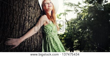 Cute Adolescence Pretty Outdoor Park Portrait Concept