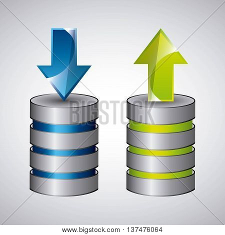 Technology and data base design represented by web hosting icon. Colorfull and isolated illustration.