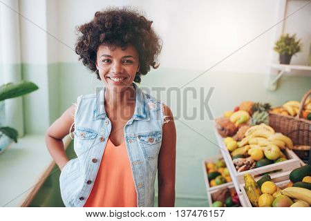 Portrait Of Happy Young Juice Bar Owner