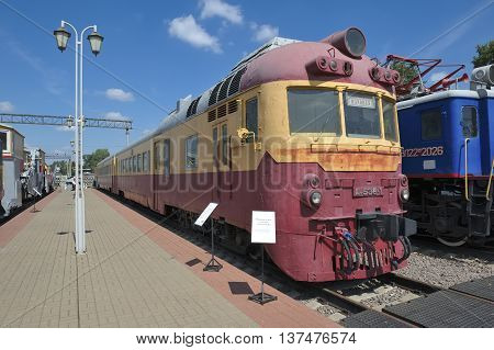 MOSCOW, RUSSIA - JUNE 23, 2016: Passenger diesel train D1-538 built by order of the USSR in 1973 in the Hungarian plant Hans-Mavag Museum of Railway Transport
