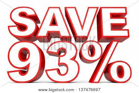 Discount 93 Percent Off. 3D Illustration On White Background.