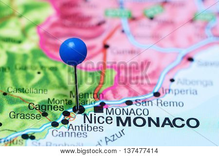 Nice pinned on a map of France