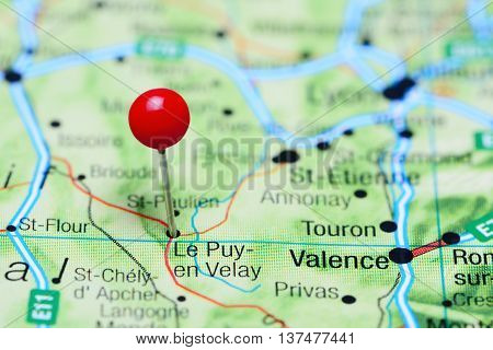 Le Puy-en-Velay pinned on a map of France