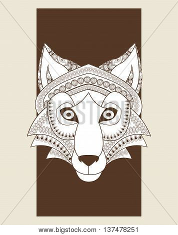 Animal and Ornamental predator concept represented by Wolf icon. Draw illustration. Pastel background