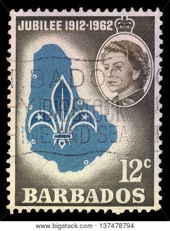 BARBADOS - CIRCA 1962: A stamp printed in Barbados shows emblem and map of Barbados and portrait of Queen Elizabeth II, circa 1962