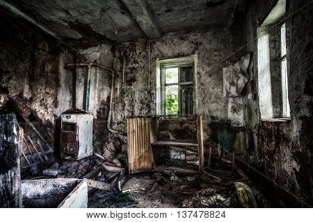Old Abandoned Cottage House Home Interior