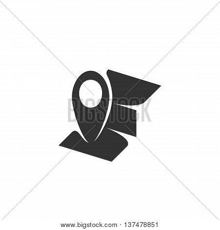 Map icon isolated on white background. Map vector logo. Flat design style. Modern vector pictogram for web graphics. - stock vector