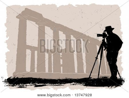 photographer with historical temple