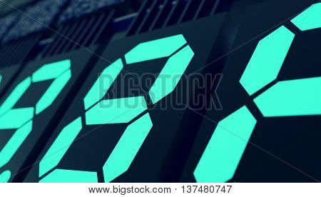 Digits led  display. 3D illustration. Toned image