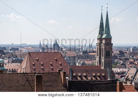 Upper view over the city of Nurnberg dominated by the two towers of St. Lorenz medieval church