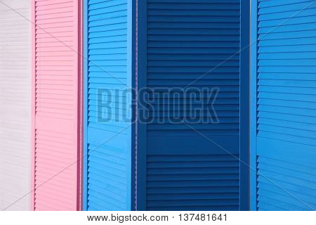 Color folding screens, closeup