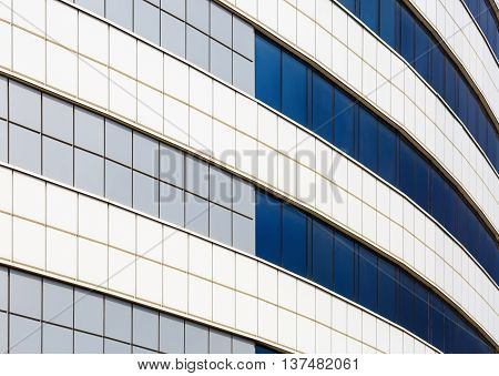 Close-up of modern architecture. Common modern business industrial architecture. Modern office building.
