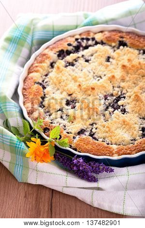 Blueberry Pie On Checkered Towel With Lavender And Marigold