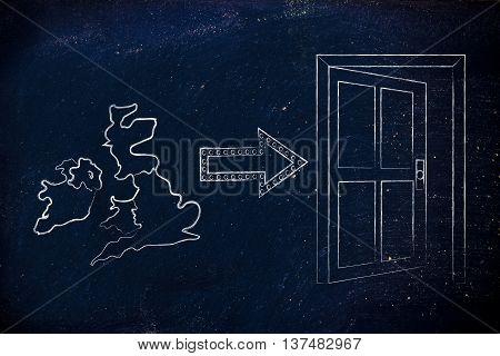 Uk Next To An Exit Door With Arrow, Brexit Vote