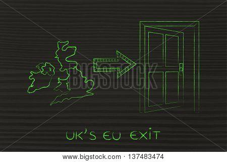 Uk Next To A Door With Arrow, Eu Exit