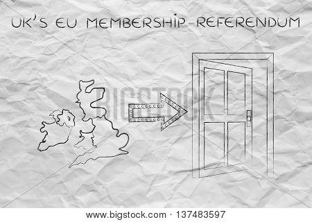 Uk Next To An Exit Door With Arrow, Eu Membership Referendum