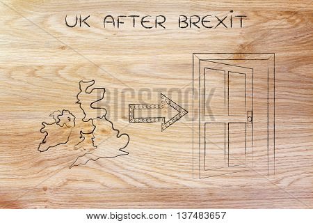 Gb Next To An Exit Door With Arrow, Uk After Brexit