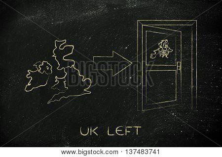 Gb Next To An Europe's Exit Door With Arrow, Uk Left