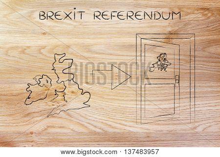 Uk Next To An Europe's Exit Door With Arrow, Brexit Referendum