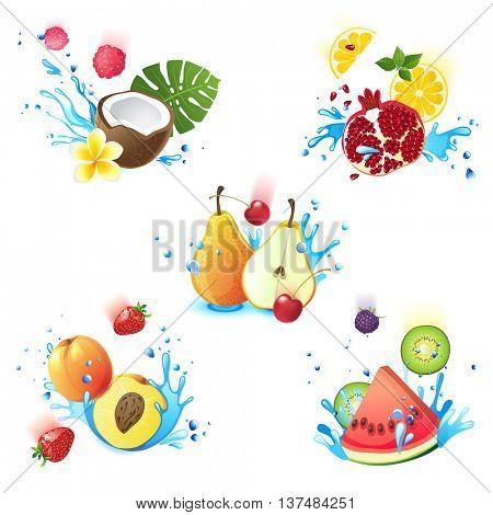 Fresh juicy fruits falling in water splashes