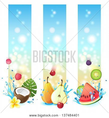 3 vertical banners with fruits in splashes