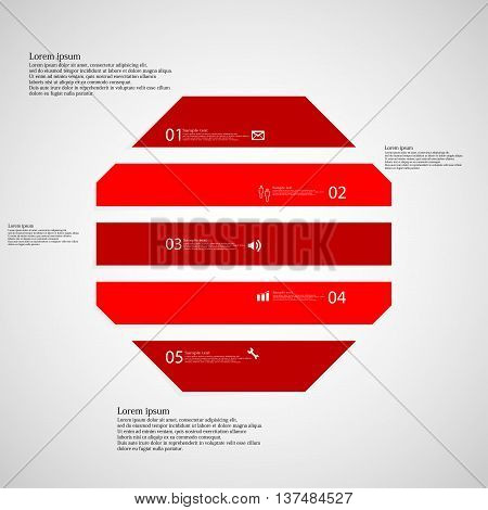 Illustration infographic template with shape of octagon. Object horizontally divided to five parts with red color. Each part contains Lorem Ipsum text number and simple sign. Background is light.