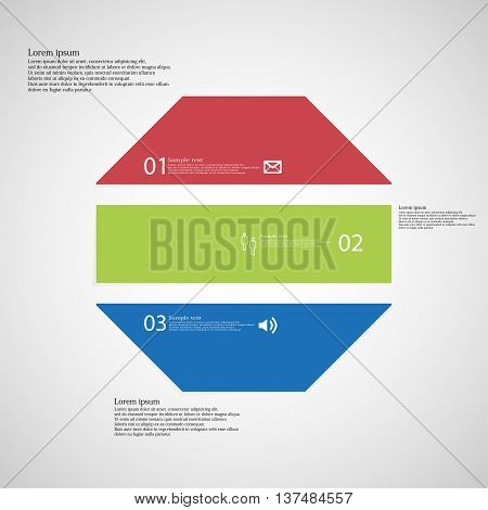 Illustration infographic template with shape of octagon. Object horizontally divided to three parts with various colors. Each part contains Lorem Ipsum text number and simple sign. Background is light.