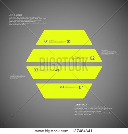 Illustration infographic template with shape of hexagon. Object horizontally divided to four parts with green color. Each part contains Lorem Ipsum text number and simple sign. Background is dark.