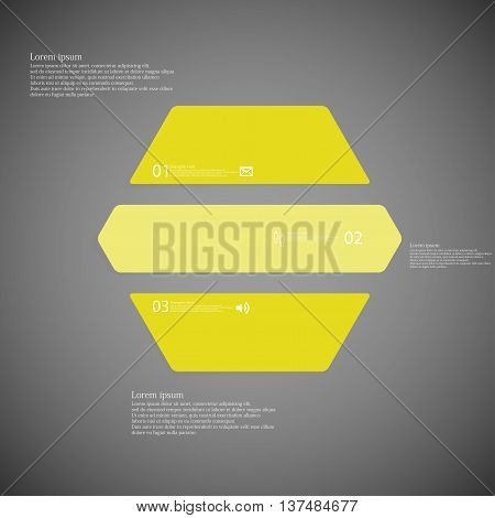 Illustration infographic template with shape of hexagon. Object horizontally divided to three parts with yellow color. Each part contains Lorem Ipsum text number and simple sign. Background is dark.